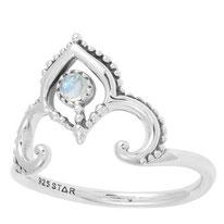 925 sterling zilver ring rainbow moonstone crown