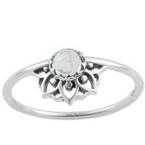 925 sterling zilver ring rainbow moonstone mandala