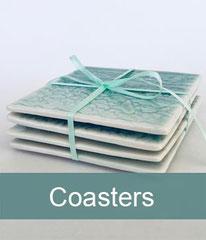 Fine porcelain lace imprint drinks coasters