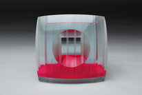 Screen - pink | cut, grinded, glued, hand polished glass | 12 x 12 x 9 cm | ●