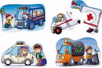 6 Puzzles véhicules d'urgence - Haba - 2 à 4 pièces