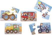 5 Puzzles véhicules de 4 à 5 Pièces,              avec les roues qui tournent