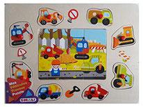 Véhicules, travaux - Smali - 8 encastrements  + 1 puzzle 6 pièces
