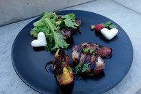 Bacon Pfirsiche Balsamico Pi mal Butter Mädchenvöllerei Saarland Saarlouis Blog Food Rezept