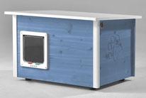 Naturfarbene und farbige Katzenhäuser (Katzenhütten), wetterfest, mit und ohne Heizung, isoliert, eigene Herstellung in Deutschland, Farbe: taubenblau