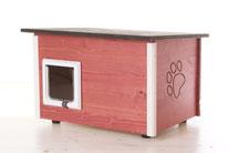 Naturfarbene und farbige Katzenhäuser (Katzenhütten), wetterfest, mit und ohne Heizung, isoliert, eigene Herstellung in Deutschland, Farbe: schwedisch-rot