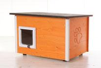 Naturfarbene und farbige Katzenhäuser (Katzenhütten), wetterfest, mit und ohne Heizung, isoliert, eigene Herstellung in Deutschland, Farbe: orange