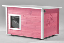 Naturfarbene und farbige Katzenhäuser (Katzenhütten), wetterfest, mit und ohne Heizung, isoliert, eigene Herstellung in Deutschland, Farbe: violett