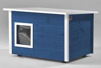 Naturfarbene und farbige Katzenhäuser (Katzenhütten), wetterfest, mit und ohne Heizung, isoliert, eigene Herstellung in Deutschland, Farbe: dunkelblau