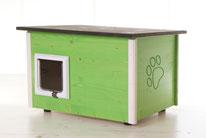 Naturfarbene und farbige Katzenhäuser (Katzenhütten), wetterfest, mit und ohne Heizung, isoliert, eigene Herstellung in Deutschland, Farbe: lindgrün