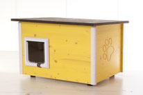 Naturfarbene und farbige Katzenhäuser (Katzenhütten), wetterfest, mit und ohne Heizung, isoliert, eigene Herstellung in Deutschland, Farbe: gelb