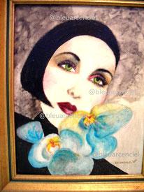 1991 Peinture à l'huile sur toile de coton 38/46 cm. d'après photo