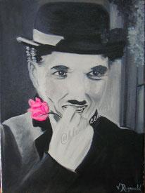 2011  Peinture à l'huile sur toile de coton d'après photo de Charles Chaplin