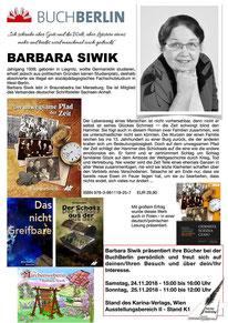 BuchBerlin 2018, Karina-Verlag, Autoren-Stunde Barbara Siwik