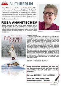 BuchBerlin 2018, Karina-Verlag, Autoren-Stunde Rosa Ananitschev