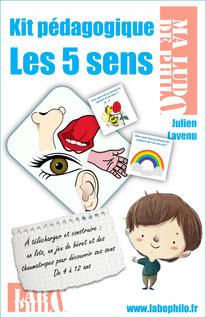 Kit pédagogique sur les 5 sens. Philosophie pour enfants. Montessori.