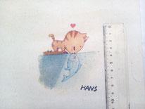 tela gatito y pez besándose