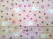 tela rosa con elefantes y flores