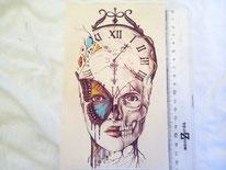tela calavera, mariposa, reloj