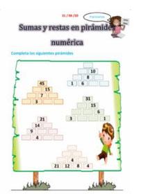 Pirámides numéricas de sumas y restas