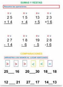Sumas y restas sencillas (sin llevada) Signos Comparación