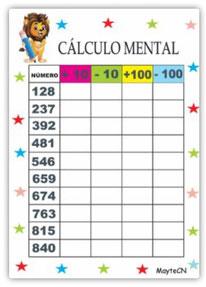 Cálculo mental Sumas y Restas