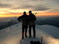 Am Gipfel des Mont Blanc