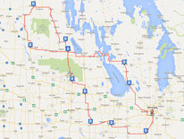 Route map for the Swan River 1200. A long-distance cycling brevet of the Manitoba Randonneurs.