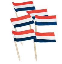 Prikkers Nederlandse vlag 50 stuks € 1,50