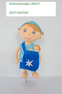 Stoffpuppen-Set für Jungen: große Puppe mit Umhängetasche und kleiner Puppe darin
