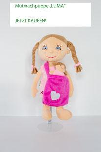Stoffpuppen-Set für Mädchen: große Puppe mit Umhängetasche und kleiner Puppe darin