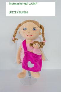 Stoffengel-Set für Mädchen: großer Engel mit Umhängetasche und kleinem Engel darin
