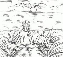 Auftragszeichnung: Teddy am Meer