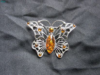 broche papillon ambre argent