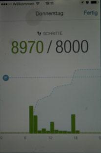 Dies ist die Grafik der Schritte, die Du am Tag zurückgelegt hast. Juhu: Ich habe mein Tagespensum überschritten.