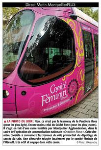 tramway rose pour la prévention du cancer du sein