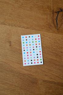 Minikarte/Anhänger Kunterbunte und goldene Sternchen • 10er-Päckchen