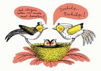 Heike Herold, Illustration, Hochzeitskarte, Grafik, Vögel