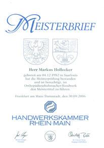 Meisterbrief Markus Hollecker