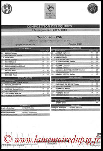 Feuille de match  Toulouse-PSG  2017-18