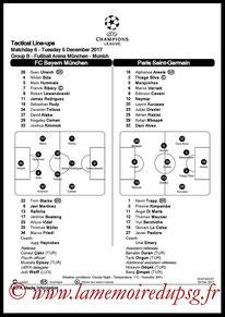 Feuille de match  Bayern-PSG  2017-18