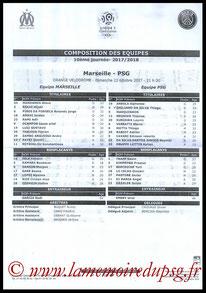 Feuille de match  Marseille-PSG  2017-18