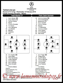 Feuille de match  Real Madrid-PSG  2017-18