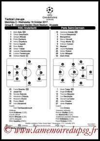 Feuille de match  Anderlecht-PSG  2017-18