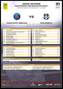 Feuille de match  PSG-Toulouse  2016-17