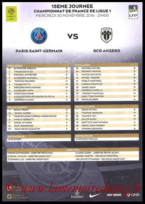 Feuille de match  PSG-Angers  2016-17