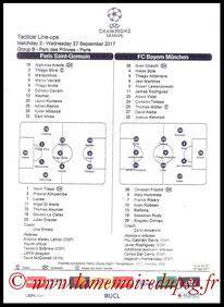 Feuille de match  PSG-Bayern  2017-18