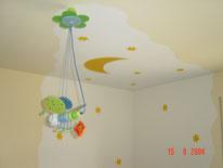 Kinderzimmer mit Lasur und Schablonentechnik.