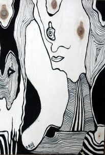 Venus d'ailleurs n° 2, encre de Chine sur bois