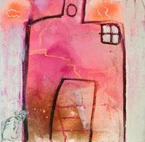 Haus und Hund abstrahiert .Magenta ,Orange